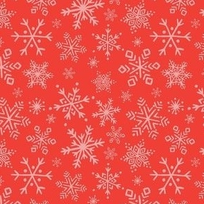 Snowflake - Pink on Red, Small Scale