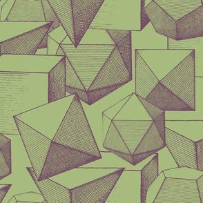polyhedra green & purple