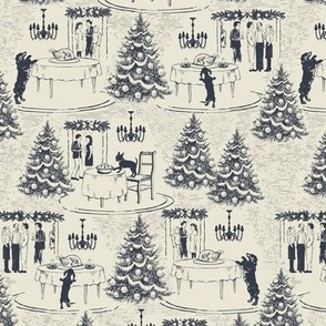 Bad Dog holiday party toile navy blue micro scale