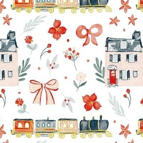 Watercolor Christmas train, Christmas house, bows and flowers MEDIUM