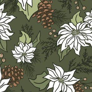 Poinsettia - Olive Green, Large Scale