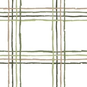 Sketchy Line Plaid - Green, Large Scale