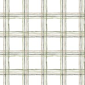 Sketchy Line Plaid - Green, Medium Scale