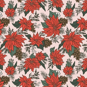 Festive Red Poinsettia on Pink - Large Scale