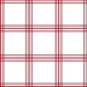 Red and White Windowpane Plaid - Large Scale