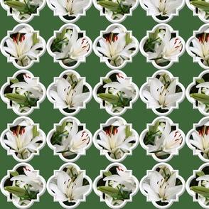 White Lilies Quatrefoil