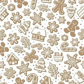 Gingerbread Cookies - White, Medium Scale