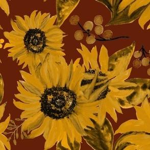 Sunflowers On Deep Red Medium