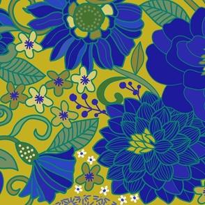 1970s blue and yellow retro muumuu