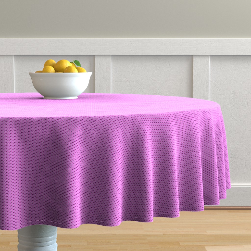 Malay Round Tablecloth featuring Building bricks pink by spacefem