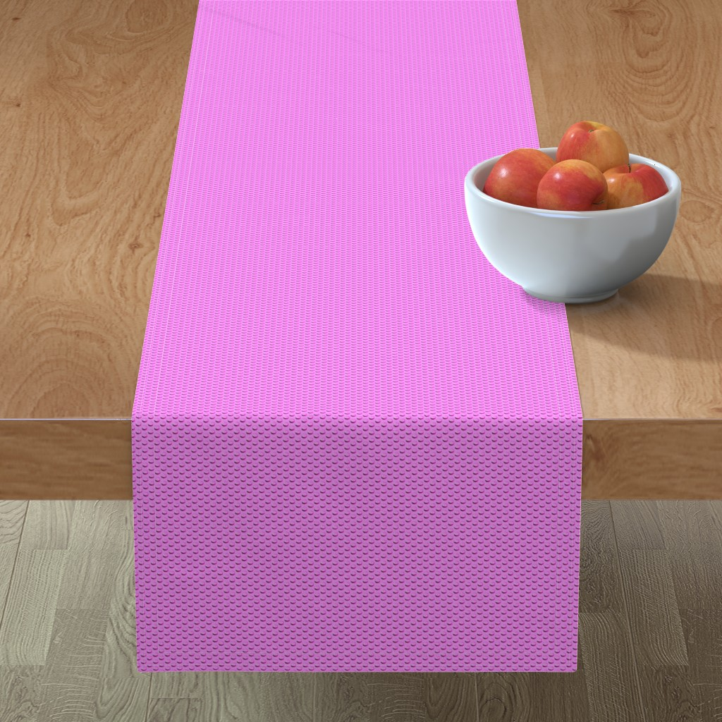 Minorca Table Runner featuring Building bricks pink by spacefem