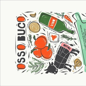 Osso Buco Recipe Tea Towel and Wall Hanging