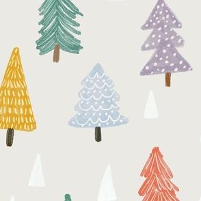 Christmas trees-beige-extra large