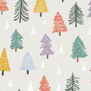 Christmas trees-beige-large