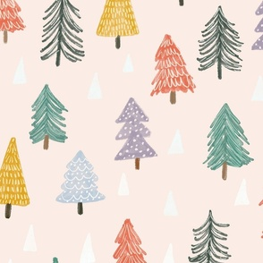 Christmas trees-pink-large