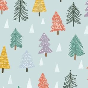 Christmas trees-blue-large