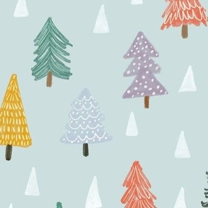 Christmas trees-blue-medium