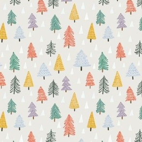 Christmas trees-beige-extra small