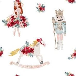 Christmas nutcracker with ballerina and rocking horse MEDIUM