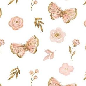 Gold and pink butterflies MEDIUM