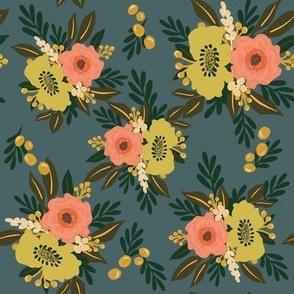 Floral Bloom (on blue)