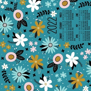 2022 Vintage Floral Joy Tea Towel Calendar