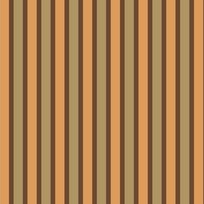 Dusty Earth Stripes (#15) - Narrow Ribbons of Dusty Bark with Dusty Fawn and Dusty Apricot