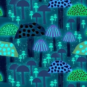 Wild About Mushrooms Florescent Blue M medium scale