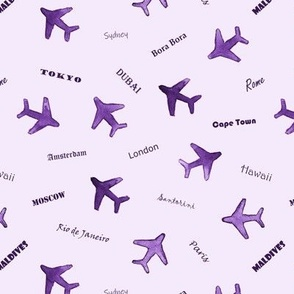 Bon voyage in violet - watercolor travel inspiration - air planes and destinations - trip around the world a612-9