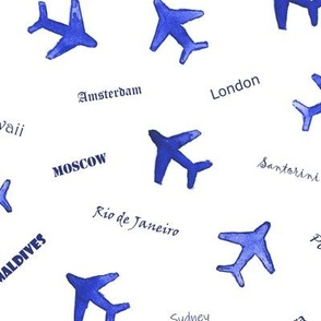 Bon voyage - watercolor travel inspiration - air planes and destinations - trip around the world a612-16