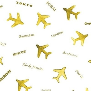 Golden Bon voyage - watercolor travel inspiration - air planes and destinations - trip around the world a612-18