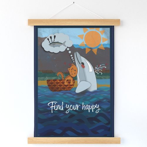Dolphin & Cat Find Your Happy Motivational Poster