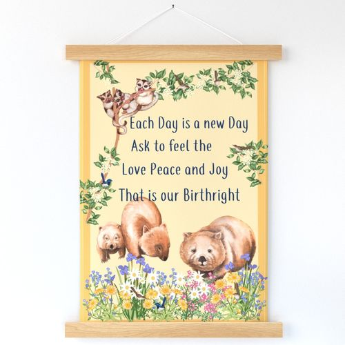 Tea Towel Positive Affirmation Design with Australian animals and flowers