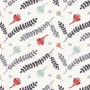 Festive Branches & Flowers - Grey, Red, Pumpkin (small)