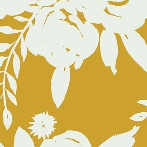 Rose Bouquet White Outline - Mustard Yellow
