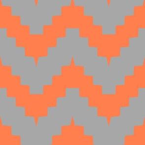 chevron gray and tangerine