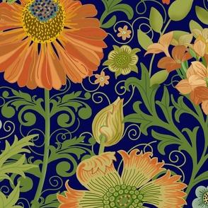 Le Jardin Art Nouveau Navy Blue Large