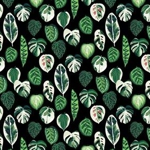 SMALL variegated palm plants fabric - palm print, monstera fabric, palm print wallpaper, monstera wallpaper, variegated leaves - black