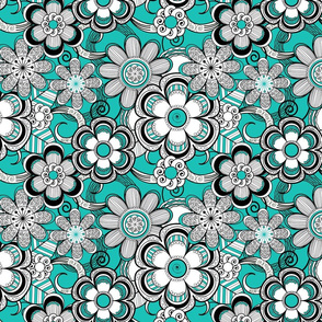 Mehndi Flowers in Turquoise