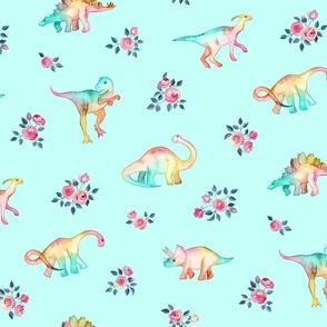 Rainbow Dinos on Pale Aqua Mint with Roses - custom request 2