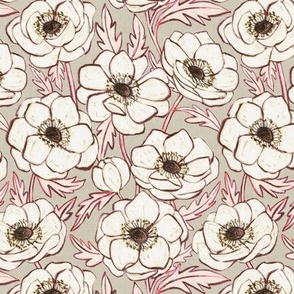 Chalk Anemones in soft neutral cream, grey and pink - small print