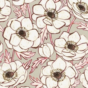 Chalk Anemones in soft neutral cream, grey and pink - large print