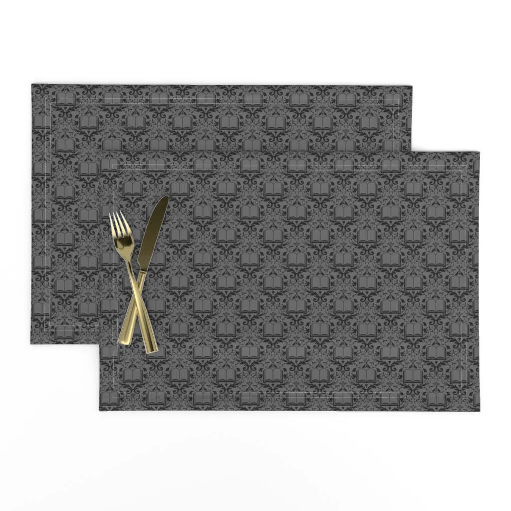 Lamona Cloth Placemats featuring Book Damask Charcoal by spacefem