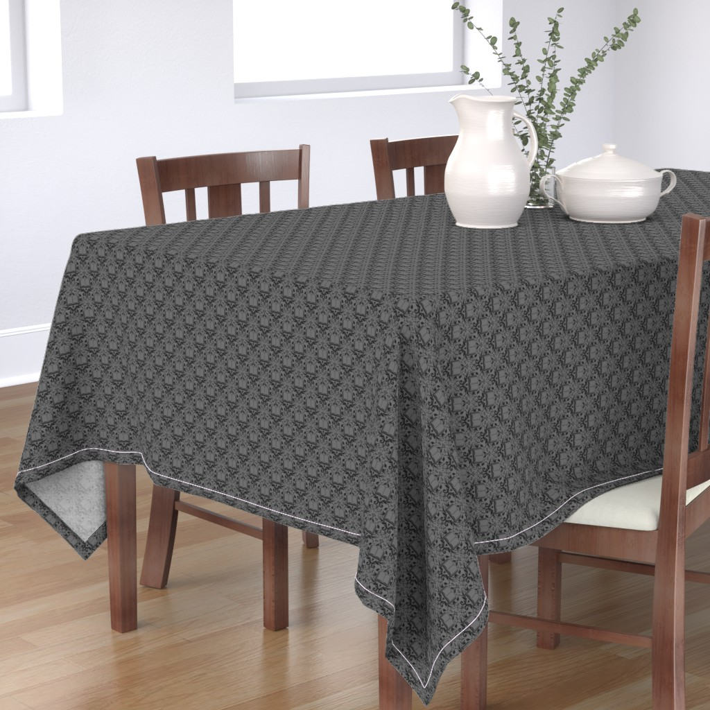 Bantam Rectangular Tablecloth featuring Book Damask Charcoal by spacefem