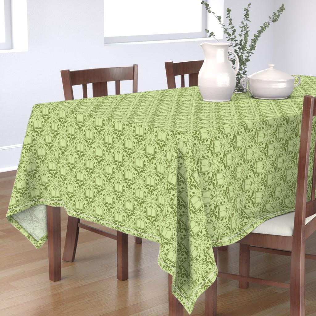 Bantam Rectangular Tablecloth featuring Book Damask Green by spacefem