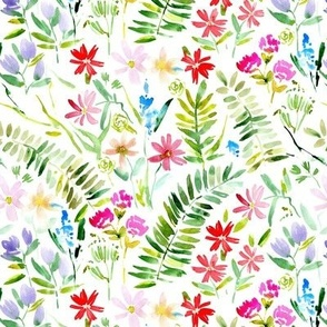 Wildflowers of Italian riviera - watercolor florals meadow - painted bloom for modern home decor nursery a629-1