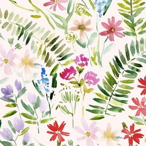Wildflowers of Italian riviera on cream - watercolor florals meadow - painted bloom for modern home decor nursery a629-7