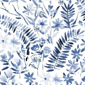 Indigo Wildflowers of Italian riviera - watercolor florals meadow - painted bloom for modern home decor nursery a629-15