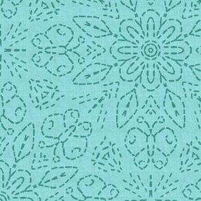 Embroidery Illusion Butterflies and Bloom in Turquoise Linen Look