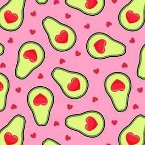 avocado love - heart avocado valentine - bright pink - LAD21